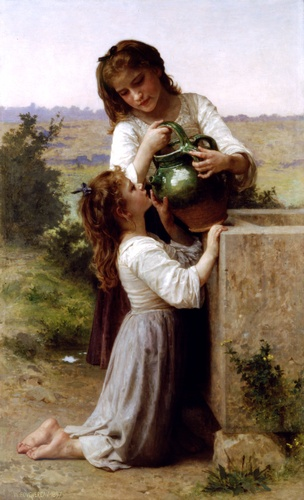 噴水で, 原油 バイ William Adolphe Bouguereau (1825-1905, France)