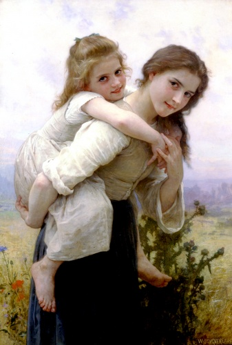 快適な負担, オイル バイ William Adolphe Bouguereau (1825-1905, France)