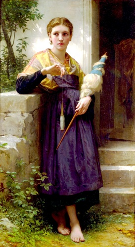 Fileuse, オイル バイ William Adolphe Bouguereau (1825-1905, France)