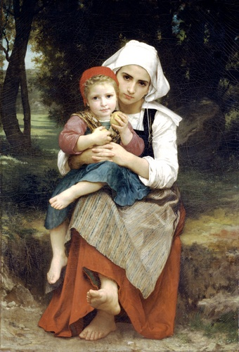 順序 傑作コピー : ブルトン兄妹 バイ William Adolphe Bouguereau (1825-1905, France) | WahooArt.com