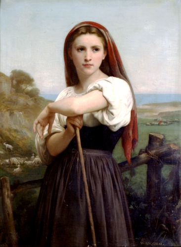 若い羊飼い1868, オイル バイ William Adolphe Bouguereau (1825-1905, France)