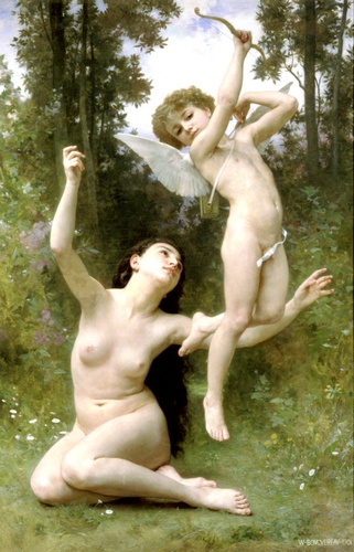 ラムールsenvole, オイル バイ William Adolphe Bouguereau (1825-1905, France)