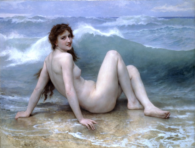 ウェーブ, オイル バイ William Adolphe Bouguereau (1825-1905, France)