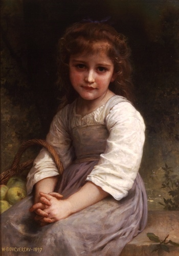 りんご, オイル バイ William Adolphe Bouguereau (1825-1905, France)
