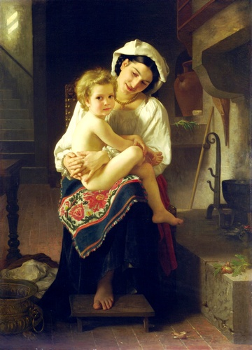 レバー, オイル バイ William Adolphe Bouguereau (1825-1905, France)