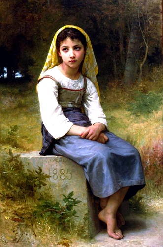 NBの瞑想1885, オイル バイ William Adolphe Bouguereau (1825-1905, France)
