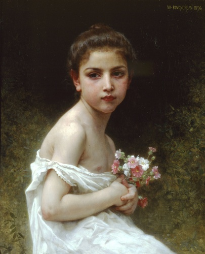 花束と少女, 原油 バイ William Adolphe Bouguereau (1825-1905, France)