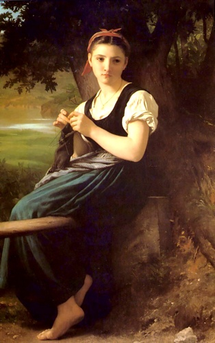 ニットガール, オイル バイ William Adolphe Bouguereau (1825-1905, France)