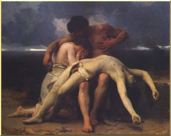 最初の追悼, オイル バイ William Adolphe Bouguereau (1825-1905, France)