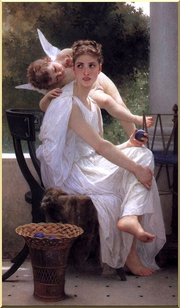 作業中断, オイル バイ William Adolphe Bouguereau (1825-1905, France)