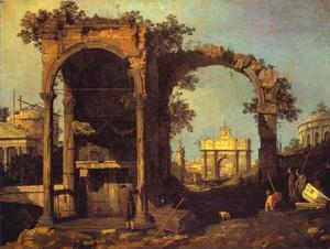 Giovanni Antonio Canal (Canaletto) - カプリッチオ -   廃墟  と  古典  建物