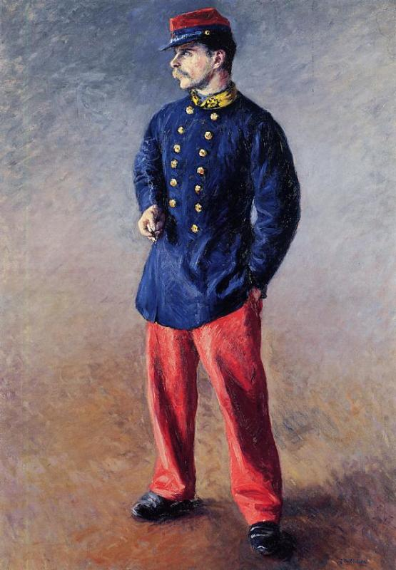 A 兵士, キャンバス年石油 バイ Gustave Caillebotte (1848-1894, France)