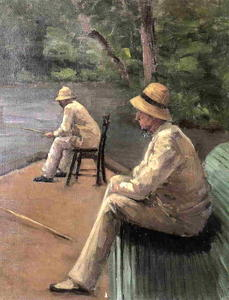 Gustave Caillebotte - 漁師 オン  ザー  銀行  の  ザー  Yerresの