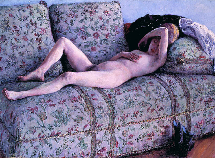 NUD coucs, オイル バイ Gustave Caillebotte (1848-1894, France)