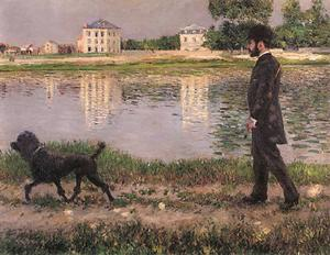 Gustave Caillebotte - リチャード·ギャロとプチジェヌヴィリエでの彼の犬