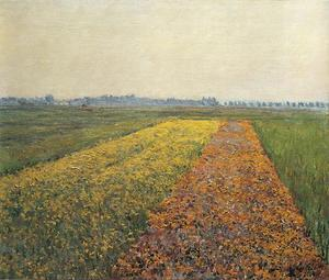Gustave Caillebotte - ザー 黄色 フィールズ で `gennevilliers