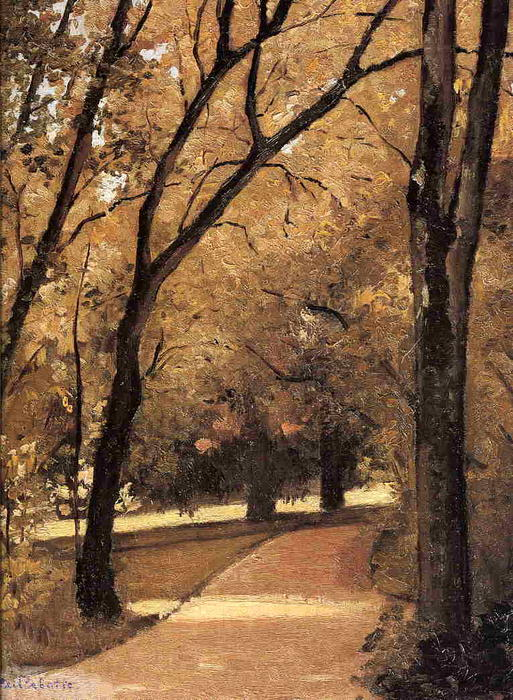 Yerresの , 通る経路 ザー 古い 成長 ウッズ 教会に 公園, 1871 バイ Gustave Caillebotte (1848-1894, France) | WahooArt.com