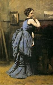 Jean Baptiste Camille Corot - 女性 インチ 青色