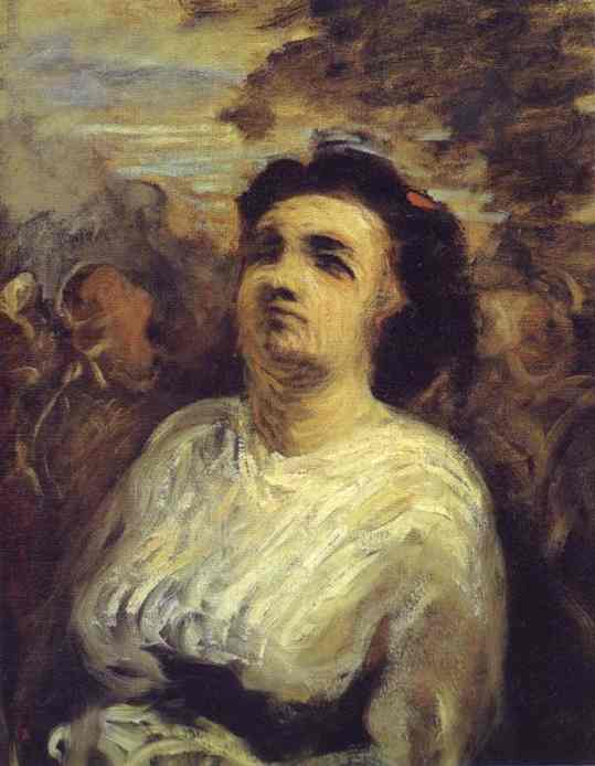 bust` の 女性, オイル バイ Honoré Daumier (1808-1879, France)