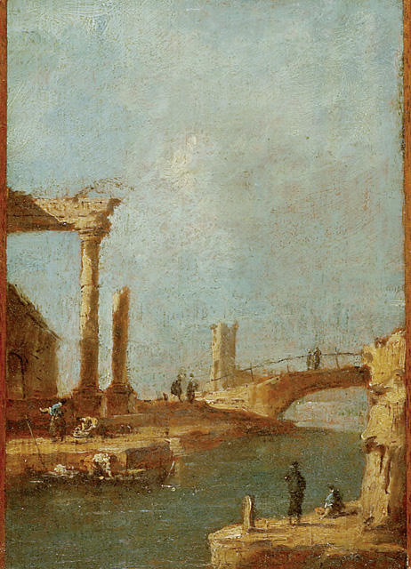 カプリッチオ . 廃墟 と  橋 バイ Francesco Lazzaro Guardi (1712-1793, Italy) | WahooArt.com