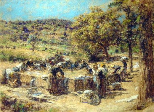 Washday バイ Léon Augustin L'hermitte (1844-1925, France) | 絵画の複製 | WahooArt.com