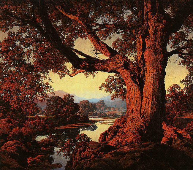 秋川岸, 原油 バイ Maxfield Parrish (1870-1966, United States)