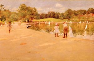 William Merritt Chase - 非常に小さな Boat-Lake - 中央 公園