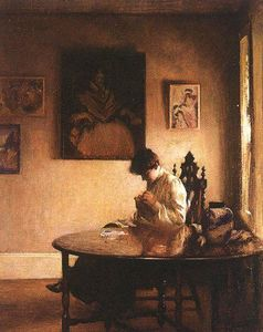 Edmund Charles Tarbell - ガールCrotcheting