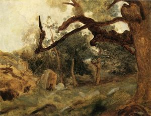 Jean Baptiste Camille Corot - L ARBRE Tordu、レシェーヌモンUsey、フォンテーヌブロー