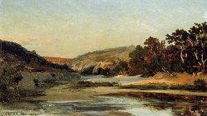 Jean Baptiste Camille Corot - 水道橋 教会に Valley