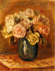Pierre-Auguste Renoir - バラ には 青色 花瓶