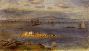 Pierre-Auguste Renoir - ブルターニュの海岸 釣り  ボート