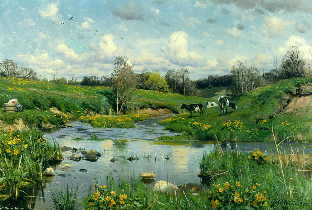 放牧牛, オイル バイ Peder Mork Monsted (1859-1941, Denmark)