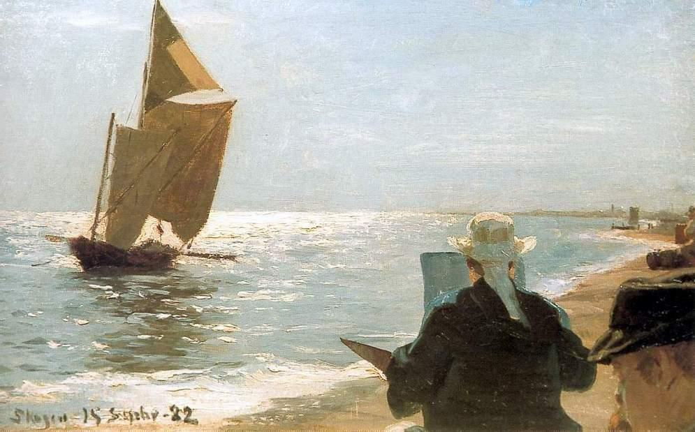 Pintoresエンラプラヤ, オイル バイ Peder Severin Kroyer (1851-1909, Norway)