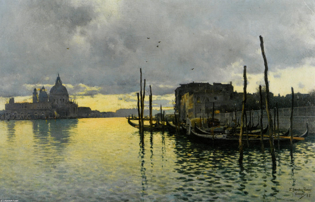 Evening_Looking_Towards_the_Grand_Canal_with_Santa_Maria_Della_Salute_in_the_Distance バイ Emilio Sanchez-Perrier (1855-1907, Spain)