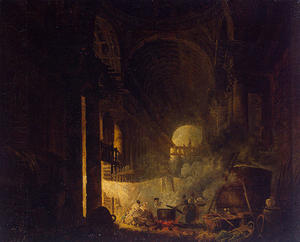 Hubert Robert - laundresses` 教会に 廃墟