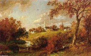Jasper Francis Cropsey - 背中の ザー 村 , Hastings-on-Hudson , ニューヨーク