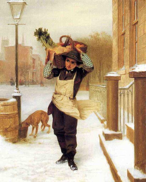 配達員, 1863 バイ John George Brown (1831-1913, United Kingdom) | WahooArt.com