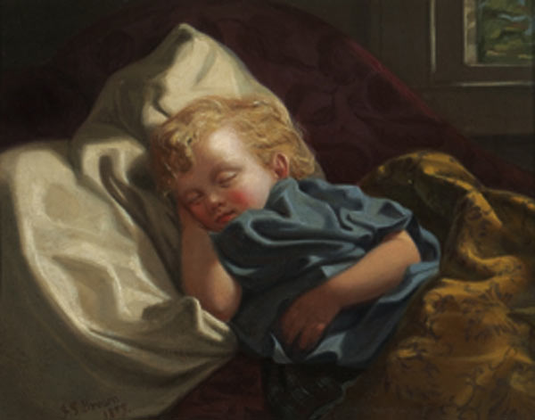 睡眠 天使 バイ John George Brown (1831-1913, United Kingdom)