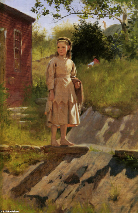 若い 若い女の子 バイ John George Brown (1831-1913, United Kingdom) | WahooArt.com