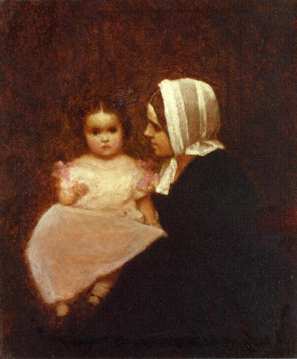 母 と 子供 1   バイ Jonathan Eastman Johnson (1824-1906, United Kingdom)