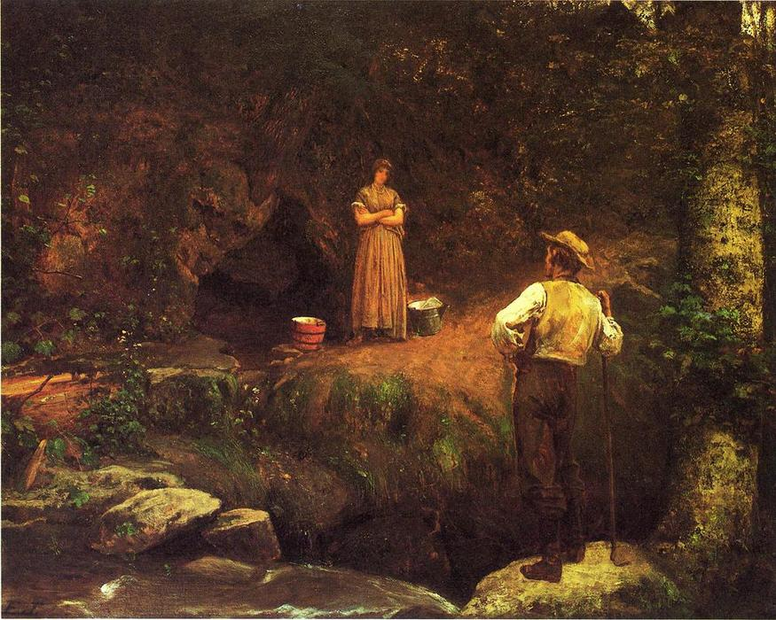 ザー 初期の 恋人たち バイ Jonathan Eastman Johnson (1824-1906, United Kingdom) | WahooArt.com