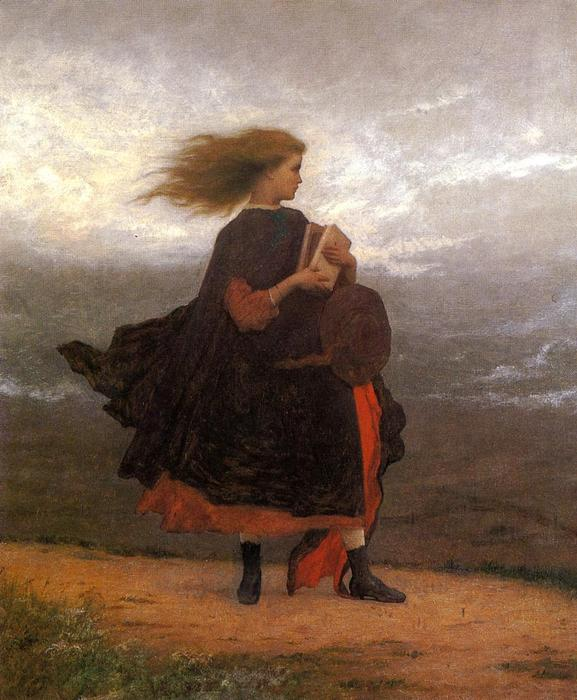 ザー 少女 i 左 の後ろ 私 バイ Jonathan Eastman Johnson (1824-1906, United Kingdom)
