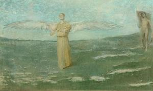 Thomas Wilmer Dewing - tobias` そして 天使