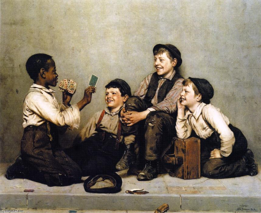 a カード トリック, 1891 バイ John George Brown (1831-1913, United Kingdom) | WahooArt.com