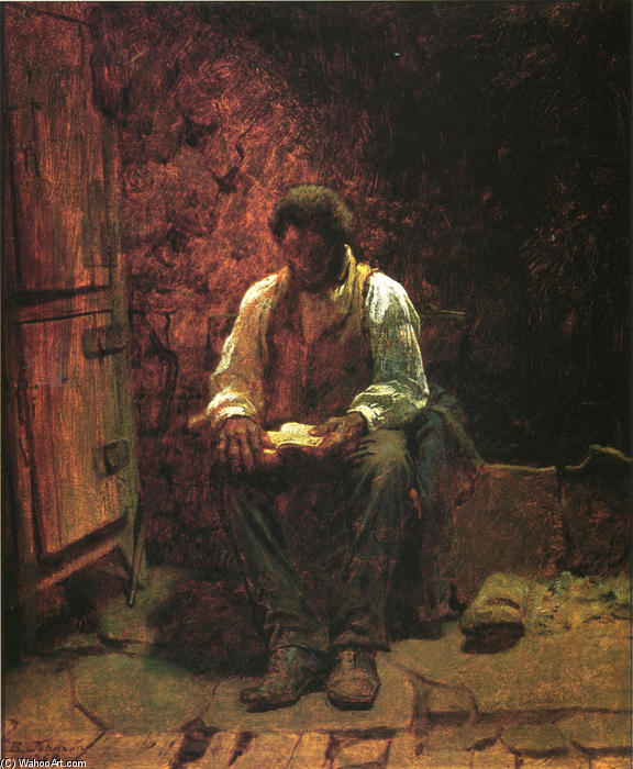 煙突コーナー, パネルに油絵 バイ Jonathan Eastman Johnson (1824-1906, United Kingdom)