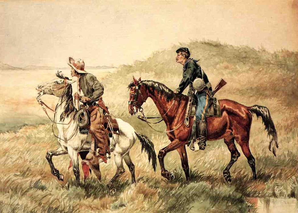 クーリエ, 水彩画 バイ Frederic Remington (1861-1909, United States)