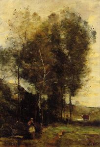 Jean Baptiste Camille Corot - デル、ブルターニュのお土産で牽牛