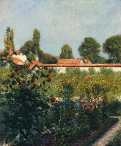 Gustave Caillebotte - プチGennevillersの庭、ピンク屋根