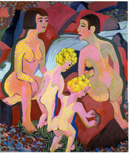 Ernst Ludwig Kirchner - 水浴び 女性たち と 子供